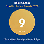 Prima Vista Booking.com Traveller Review Awarded with 9 out of 10 for year 2020.